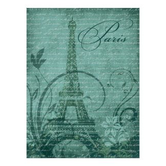 """Fleur de Paris Eiffel Tower 30""""x40"""" teal Posters"""