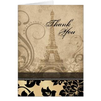 Fleur de Paris Eiffel Tower   sand Thank You Card