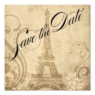 Fleur de Paris Eiffel Tower Save the Date   sand Card