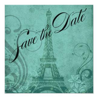 Fleur de Paris Eiffel Tower Save the Date   teal Card