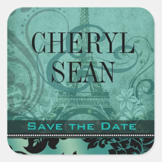 Fleur de Paris Eiffel Tower   teal Square Sticker
