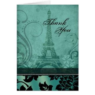 Fleur de Paris Eiffel Tower   teal Thank You Card