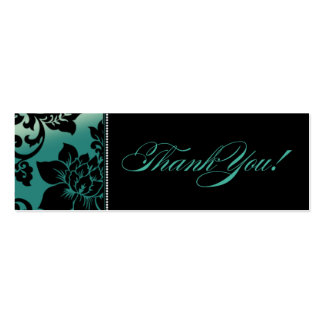 Fleur de Paris Gift Tag | teal Double-Sided Mini Business Cards (Pack Of 20)