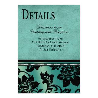 Fleur de Paris Info Wedding Directions   teal Card
