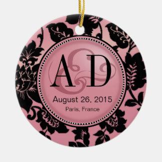 Fleur de Paris Monogram Photo | pink Ceramic Ornament