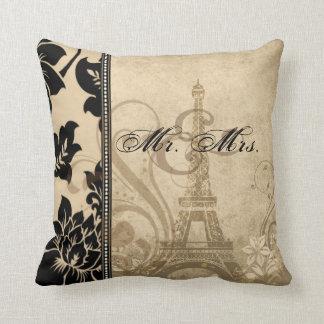 Fleur de Paris | sand Mr. & Mrs. Throw Pillow
