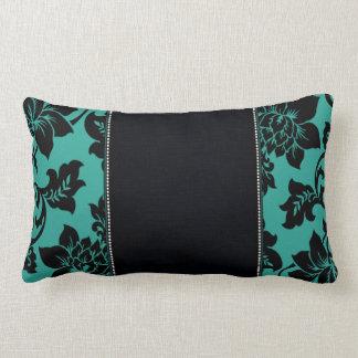 Fleur de Paris   teal Lumbar Pillow