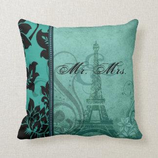 Fleur de Paris   teal Mr. & Mrs. Throw Pillow