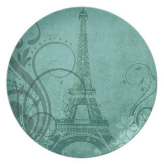 Fleur de Paris   teal Party Melamine Plate