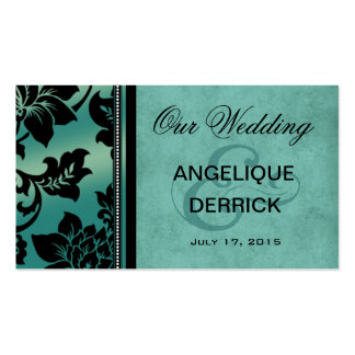 Fleur de Paris Wedding Website   teal Business Card