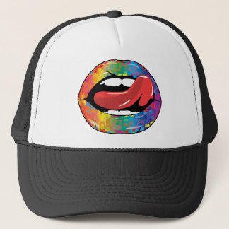 Fleur De Rainbow Licking Lips Trucker Hat