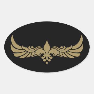 Fleur de Wings Pegatina Ovalada