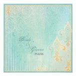 """Fleur di Lys Damask 2 Blue - Wedding Invitation 5.25"""" Square Invitation Card"""