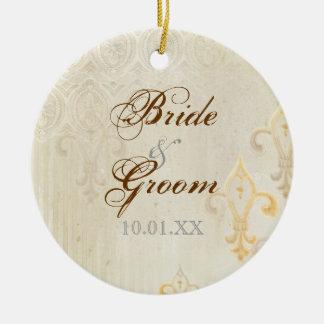 Fleur di Lys Damask 2 Cream - Wedding Ornament
