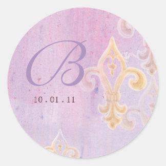 Fleur di Lys Damask 2  - Wedding Seal or Sticker