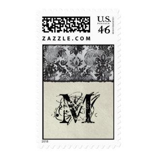 Fleur di Lys Damask Black Monogram Postage