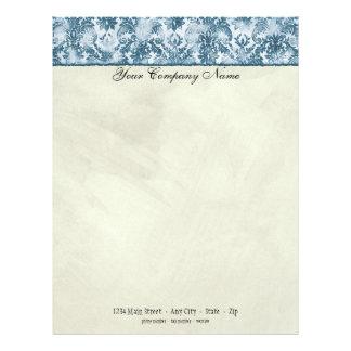 Fleur di Lys Damask Blue Stationery Letterhead