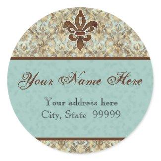 Fleur di Lys Damask Brown Address Stickers sticker