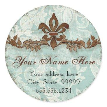 Professional Business Fleur di Lys Damask Brown Address Stickers