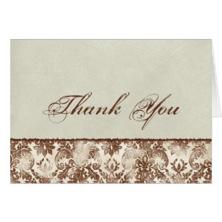 Fleur di Lys Damask Brown Business Thank You Notes