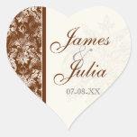 Fleur di Lys Damask - Brown Wedding Seal Sticker