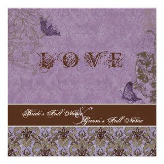 Fleur di Lys Damask - Dk Purple Wedding Invitation