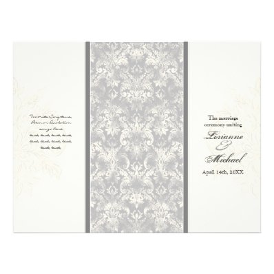 Fleur di Lys Damask - Grey Formal Wedding Program
