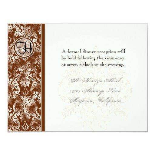 Fleur di Lys Damask - invitación de la recepción Invitación 10,8 X 13,9 Cm