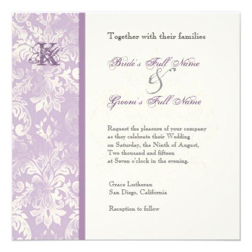 Fleur di Lys Damask - invitación del boda de la li