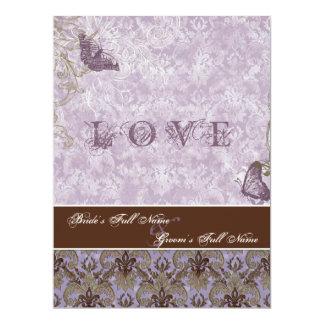 Fleur di Lys Damask - invitación púrpura del boda