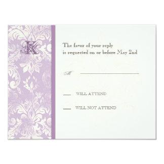 Fleur di Lys Damask - Lilac Response Card