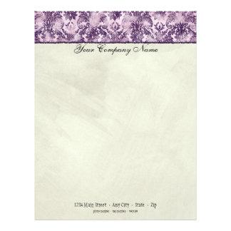 Fleur di Lys Damask Lilac Stationery Letterhead