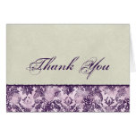 Fleur di Lys Damask Lilac Thank You Notes Stationery Note Card