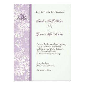 Fleur di Lys Damask - Lilac Wedding Invitation