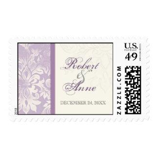 Fleur di Lys Damask - Lilac  Wedding Postage
