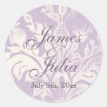 Fleur di Lys Damask - Lilac Wedding Seal Sticker