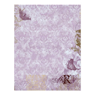 Fleur di Lys Damask - Monogrammed Scrapbook pages Customized Letterhead