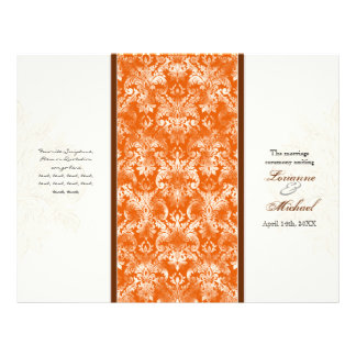 Fleur di Lys Damask Orange Formal Wedding Program