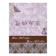 Fleur di Lys Damask - Purple Wedding Invitation