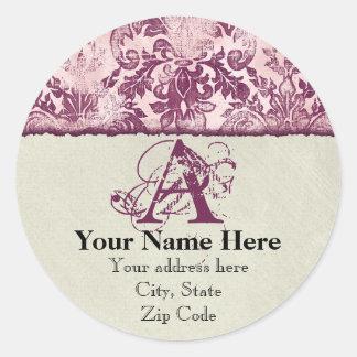 Fleur di Lys Damask Raspberry Address Stickers