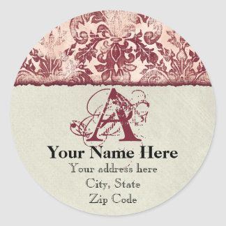 Fleur di Lys Damask Red Address Stickers