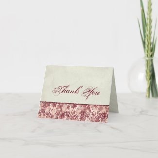 Fleur di Lys Damask Red Thank You Notes card