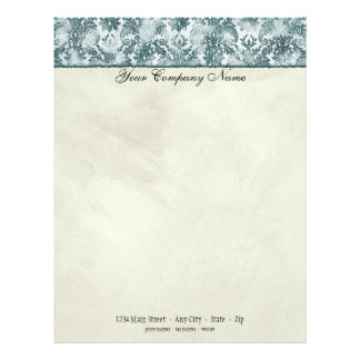 Fleur di Lys Damask Slate Blue Stationery Personalized Letterhead