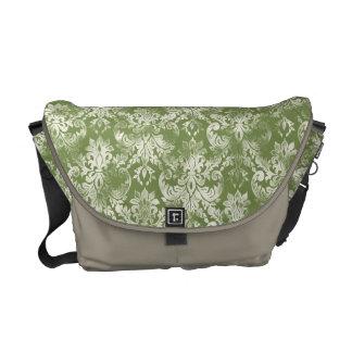 Fleur di Lys Damask Swirl Grunged Trendy Chic Messenger Bag