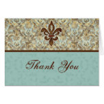 Fleur di Lys Damask Thank You Note Cards