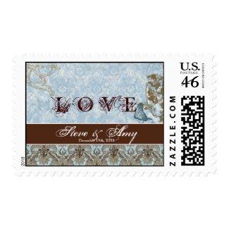 Fleur di Lys Damask - Wedding, Love Postage stamp