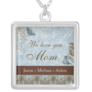 Fleur dy Lis Damask Butterfly Mom Necklace