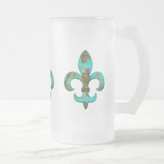 Fleur Faux Stone 1 16 Oz Frosted Glass Beer Mug
