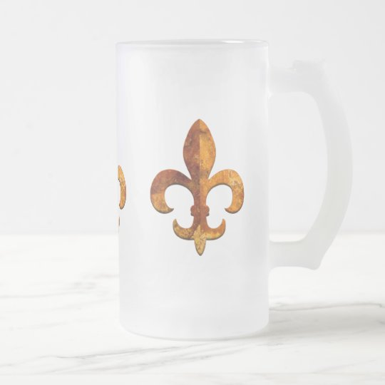 Fleur Faux Stone 2 Frosted Glass Beer Mug