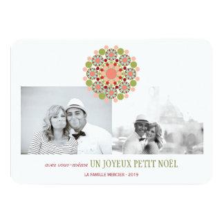 "Fleur festivo Joyeux Voeux pequeno de Noël Invitación 4.5"" X 6.25"""
